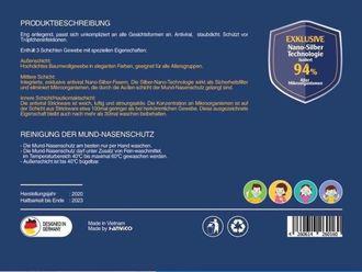 12x FFP2-äquivalent Schutzmaske Gesichtsmaske Mundschutz Nano Silver Technologie 3-lagig antibakteriell