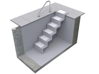 Treppe ELEGANZ 60  U  Lang 5-stufig für Universal-Einbau aus Polyester